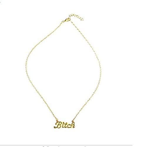 LKHJ Collar con Colgante de Letra Corta para Mujer, Gargantilla Punk para Mujer, Accesorios, Regalo, Cadena de clavícula a la Moda-Oro