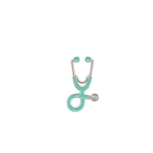 Piner Nurse Pins Medische broches voor dames Mode Kleurrijk Metaal Stethoscoop Emaille Sieraden Heren Jassen Badges Accessoires hijab pin, Zilver lichtblauw