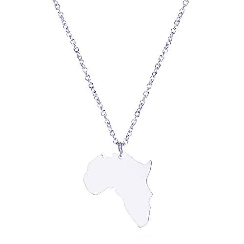 ANAZOZ Halskette Frau Halskette Damen Afrika Karte Edelstahl Halskette mit Anhänger Silber Damenketten
