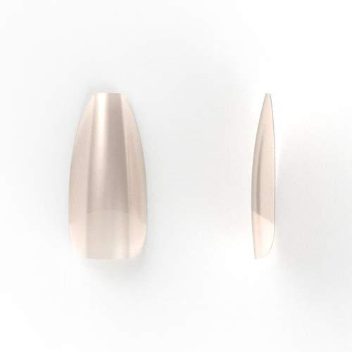 Natural Coffin/Ballerina nagel tips met breed opzetstuk, 100 stuks in een nagelbox voor natuurlijke look van Veronica NAIL-PRODUCTS.