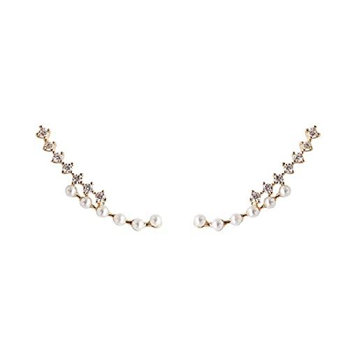S925 aguja de plata brillante lleno de diamantes pendientes de moda de perlas temperamento super pendientes de hadas pendientes personalizados