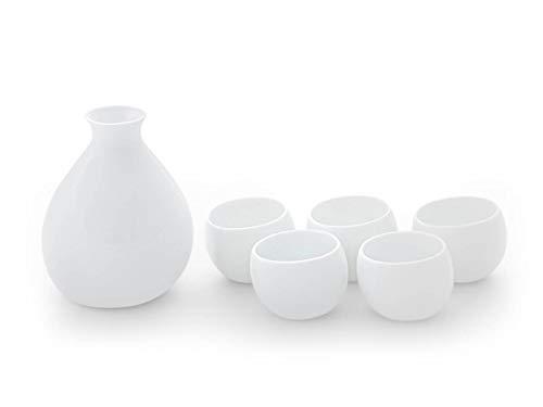 Original japanisches Sake Set Yuuki, Karaffe, ca. 400 ml, 5 Sake-Becher. Feinstes Porzellan, traditionelle Handarbeit, echte Unikate. Weiß, edle Transparenz, Design-Auszeichnungen, spülmaschinenfest