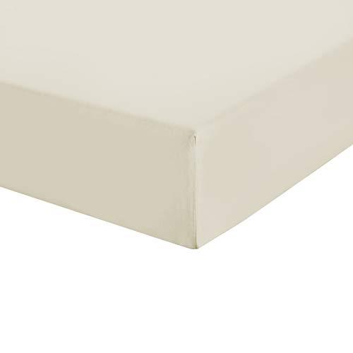 UMI. by Amazon - Sábana bajera ajustable de satén de 100% algodón, tamaño king size, 300 hilos, piedra pómez, súper suave y cómoda con bolsillos elásticos redondos extra profundos, lavable a máquina
