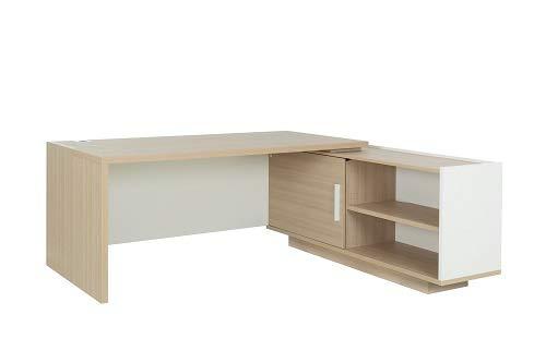 Bureau avec Retour Droit Gautier Collection Brabant Largeur 200 cm, Finition Chêne Naturel/Blanc