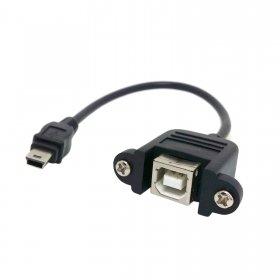 Chenyang USB-Kabel, 20 cm, Mini-USB 5-Pin Stecker auf USB Typ B Buchse mit Schrauben zum Einbau