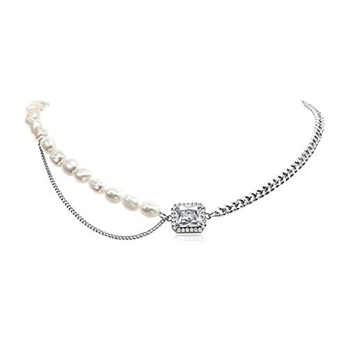 StrongAn Collar Diseño de nicho coreano Perla retro Cadena de costura de moda Personalidad Cadena de clavícula de moda - Plata Tamaño: 43.2x0.9cm + 5cm (extensión