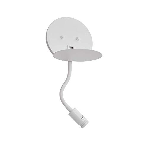 MantoLite - Luz de lectura LED con cargador USB, iluminación moderna para sala de estar, pasillo, lámparas de lectura nocturna, aplique de pared con cabezal ajustable, acabado blanco de 10 W