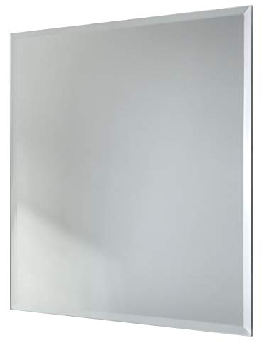 Red Co. Modern Minimalist Square Wall Mirror, Frameless with Beveled Edge, Large, 8x8 Inches