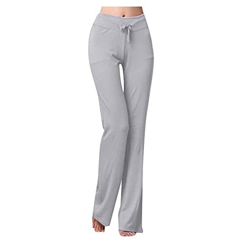 HFStorry Damenmode Einfarbig Hohe Taille Zeichenschnur Lässige Yogahosen Lässige Gerade Weites Bein Lange Hosen Für Damen