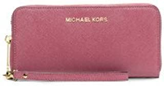 5b200b64f415e5 Michael Kors Jet Set Leather Multi Function Travel Phone Case Tulip Pink