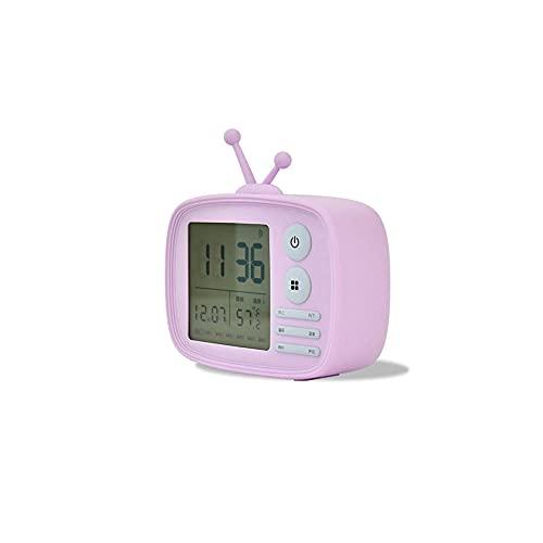 BONSPLANPT Carga De Alarma Estudiante Dormitorio Dormitorio Reloj ElectróNico Reloj De Voz Temporizador De TransmisióN-PúRpura