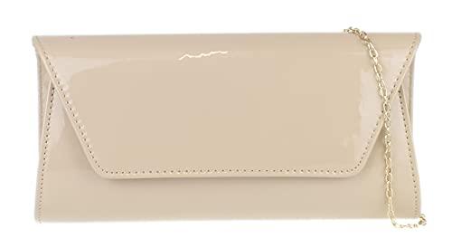 Girly Handbags Llanura bolso de embrague brillante - Nude