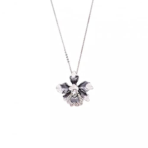 QiuYueShangMao Colgante de Collar Collar con Colgante de Flor de Amapola para Mujer, Gargantilla con Cadena de Cristal esmaltado, Adornos para Collar Femenino Día de San Valentín, cumpleaños