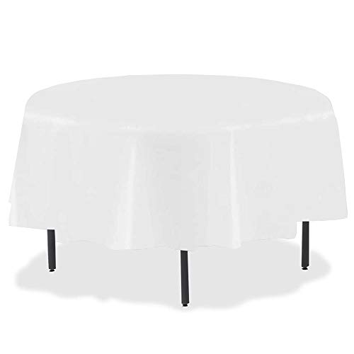 84' Plastic Round Tablecloth, JRing 15Pack Disposable Table Cover Reusable for Any Parties/Event (PEVA) (White)