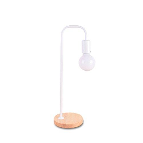 Lampe De Table Nordique Moderne 110 V 220 V Bois Lampes De Table Simple Chêne Bois Fer Bureau Lampes Lampe De Lecture Lumière Du Côté Pour Chambre Étude (Couleur : Blanc)