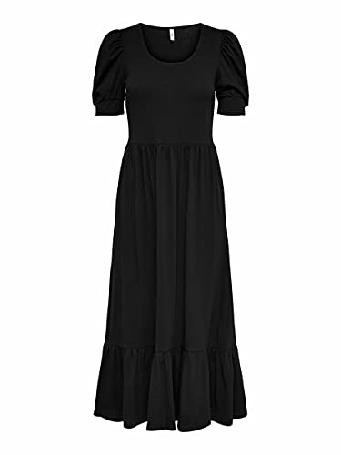 Only ONLMAY Life S/S Puff Dress Jrs Vestito, Nero, XS Donna