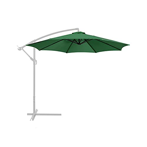 Sombrilla colgante para jardín con 8 varillas resistentes, toldo para patio, sombrilla en voladizo, paraguas con manivela y base cruzada para patio, patio, patio, césped, jardín (verde, tamaño: 2,7 m)
