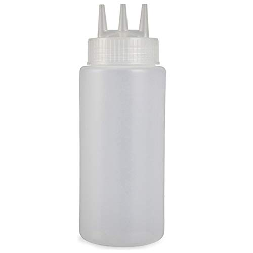 LHK 3-Loch-Ketchup, Quetschflasche, Plastikgewürzspender Senf-Salat-Dressing-Sauce Essigöl, für Familienküche Restaurant Bäckerei [Weiß]