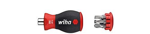 Wiha Magazin-Bithalter Stubby 3801-04 / Mini Schraubendreher mit 6 Bits im Griff / Schraubenzieher magnetisch mit Schlitz und Pozidriv Bits / 1/4