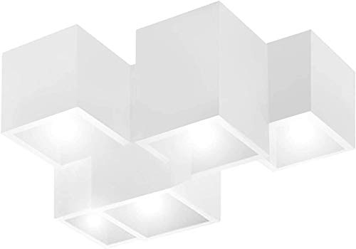 Lampada soffitto plafoniera gesso moderna quadrata LED 40W GU10 RGB cucina 230V