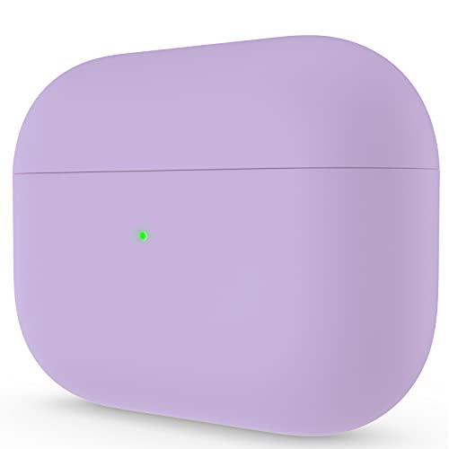 ORNARTO Kompatibel mit AirPods Pro Hülle, Schützende Flüssig Silikon Hülle für AirPods Pro 2019 Soft Skin Front LED Sichtbar Silikon Hülle, Helles Lila