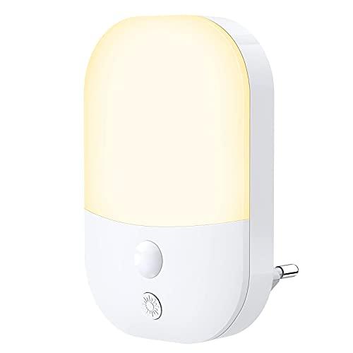 Luce Notturna LED, Luci Notturne con Sensore di Luce 5 Livelli Luminosità 3 Modalità di Illuminazione, Luce Notturna da Presa per Camera dei Bambini, Bagno, Corridoio, Cucina, Scale, Bianca Calda