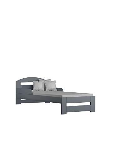 Children's Beds Home Massivholz Einzelbett - Kiko mit Schaum - Kokosfaser - Buchweizentasche Matratze Keine Schubladen (200x90 + Matratze - Keine Schubladen, Grau)