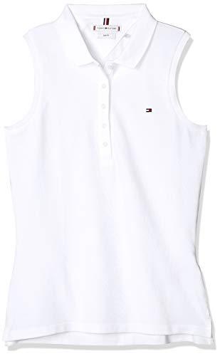 Tommy Hilfiger No Sleeve Slim Polo, Blanco (White Ybr), 42 (Talla del Fabricante: X-Large) para Mujer