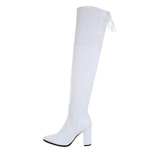 Ital-Design Damenschuhe Stiefel Overknees Synthetik Weiß Gr. 36