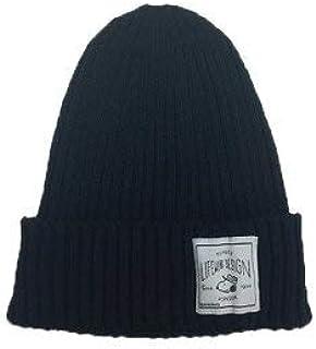 Peanuts Life Work Design COOLMAX Knit cap ニットキャップ ニット フェス 帽子 男女兼用 ピーナツ スヌーピー 可愛い オシャレ (BLACK)