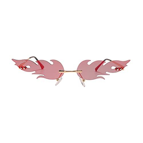 Lingaury - Colección única de gafas de sol sin montura para mujer - Gafas de sol vintage con protección UV400 en forma de llama - Marrón
