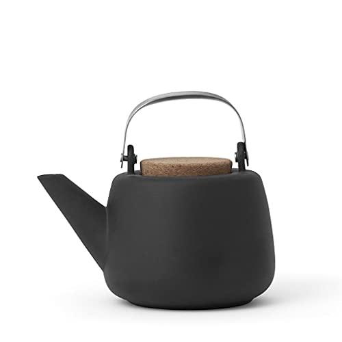 VIVA scandinavia Teekanne Porzellan Abnehmbare Sieb matt Anthrazit : tropffrei, mit edlen Griff, für Lose Tee, 1.3L