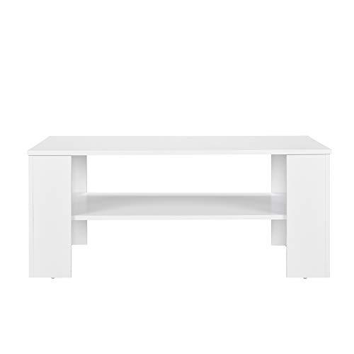 [en.casa] Mesa Elegante de Centro Blanco Mate 100 x 60cm Mesa de sofá Mesa Auxiliar con Bandeja