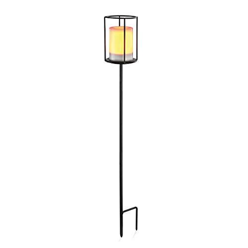Solar Gartenfackel Fritzi aus Metall - (D x H): 11 x 74 cm - Lichtfarbe gelbes Flackerlicht - Innenliegende Leuchtkerze mit LED und Solarmodul - Solarleuchten Garten Deko Außen, esotec 102229