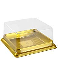 50 Pack W 3 inch X H 1-1/2 inch of Clear plastic mini cake box muffins box cookies cookies muffins dome box wedding birthday gift box (3 square gold)