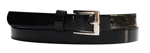 EANAGO Cinturón de piel sintética vegana para mujer, varios diseños y longitudes Negro estrecho 85 cm