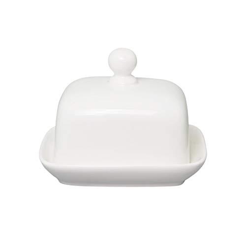 Plato de mantequilla Plato cuadrado de mantequilla, blanco puro mantequilla plato de cerámica plato de sushi con tapa de queso Queso Mantequilla occidental de la caja Caja de alimentos platos de mante