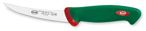 Sanelli Premana Professional Coltello Disosso Curvo Stretto, Acciaio Inossidabile, Verde/Rosso