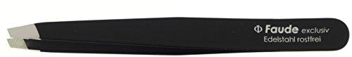 Faude Kosmetische Pinzette, Haarzupfpinzette, Beauty Pinzette, höchste Qualität, schräg, schwarz, 9,8cm