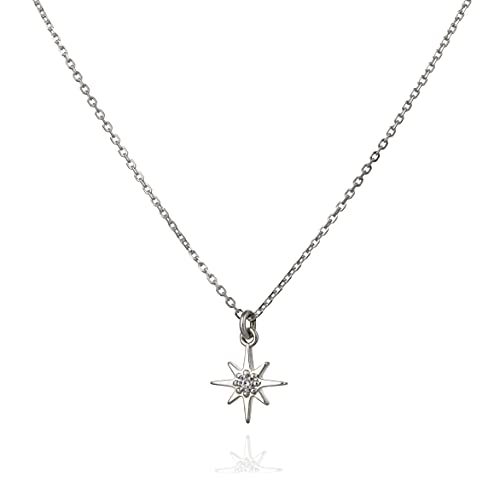 Annikabella Tiny Thin Silver North Star Pendant Necklace Dainty Everyday Super Cute Layered Pendant Short Necklace For Women