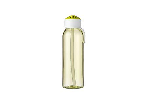 Mepal Botella de agua con pajita Campus Flip Up de 500 ml, color verde lima – Botella de agua con pajita – Botella de agua para niños – A prueba de fugas