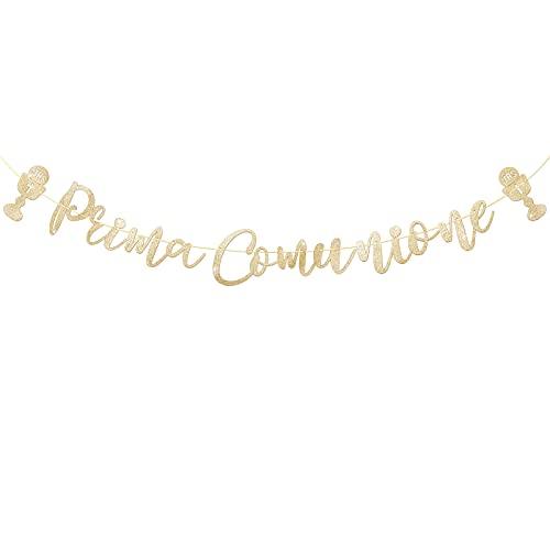 BETESSIN Prima Comunione Festone Ghirlanda Striscione di Carta Oro Addobbi con Santo Graal Decorativo per Comunione Cresima Battesimo