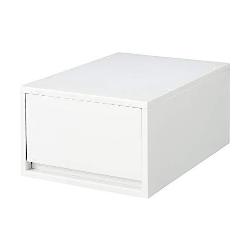 Muji Polypropylen Deep Storage Case, 26 cm Breite x 37 cm Tiefe x 17,5 cm Höhe, Weiß / Grau