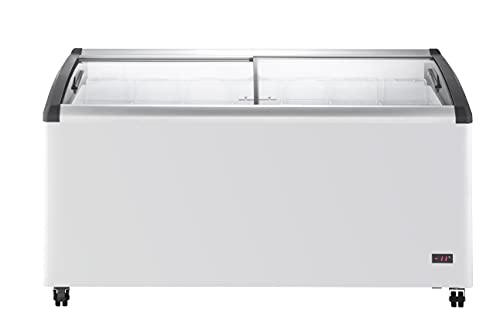 DUURA DDFC18 Commercial Mobile Ice Cream Display Chest Freezer Sub Zero Temp Curved Glass Top Frost Free Lid with 7 Wire Baskets, 63.4 Inch Wide 18.4 Cubic Feet, White