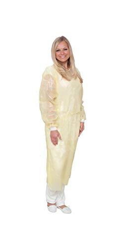 care & serve Bata de protección contra infecciones de fieltro Premium Plus EN 14126, laminado de polietileno, 10 unidades (amarillo)