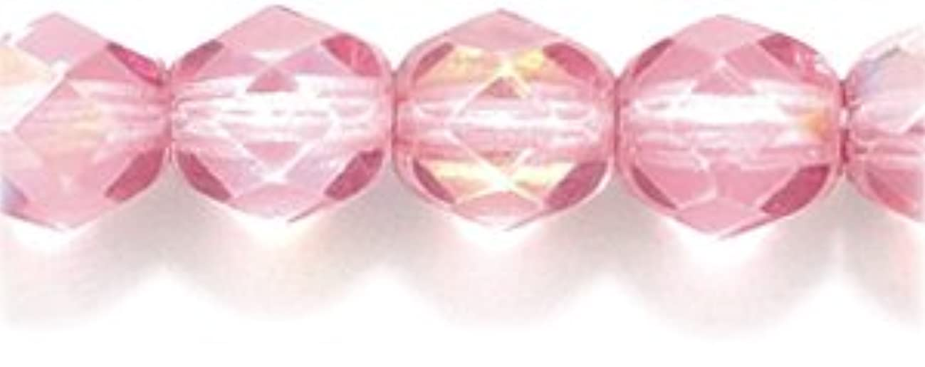 Preciosa Czech Fire 6 mm Faceted Round Polished Glass Bead, Dark Rose Pink Coat Aurora Borealis, 100-Pack