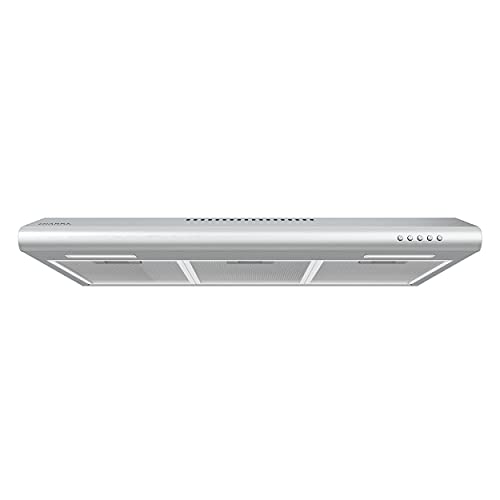 30 inch Under Cabinet Range Hood with Push Button Control Stainless Steel Slim Vent Hood with 3 Speed Exhaust Fan Ducted and Ductless Convertible CIARRA CAS75918B