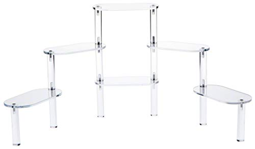 """6 Tier Acrylic Display Stairs Riser - Size: 3"""" x 6"""" x 10 1/4"""" H Oval Platform- Stairway Riser"""