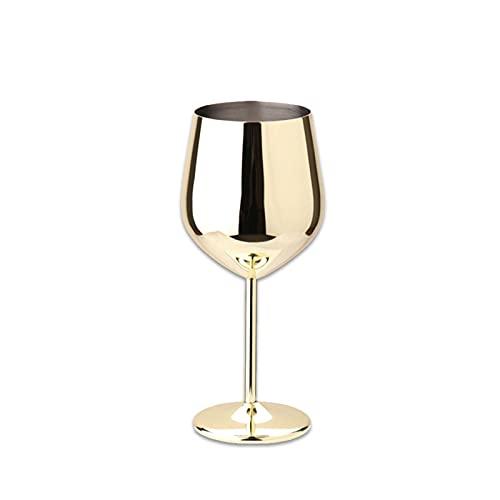 chenchen 50 0ML Copa de Placa de una Sola Capa Copa de Vino de 1 PCS Colorido en Forma de Tambor con Gota de champán de Copa de cóctel de Acero Inoxidable (Capacity : 401-500ml, Color : Gilded)