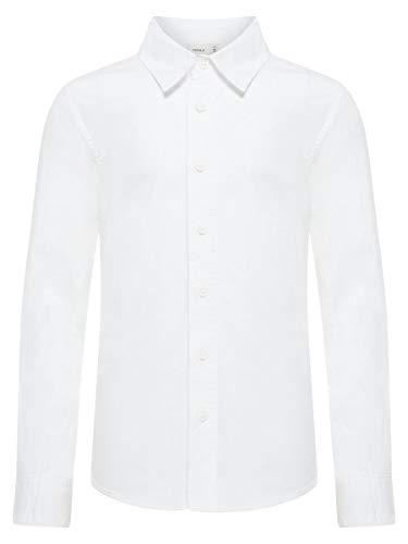 NAME IT Jungen Langarm Hemd aus Bio-Baumwolle Bright White 146/152